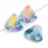"""Glass Cut Pyramid Shape 6X6mm 16"""" Strung Blue/Gold Iris"""